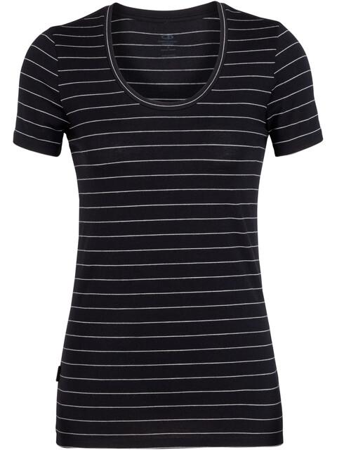 Icebreaker W's Tech Lite SS Scoop Shirt Black/Snow/Stripe